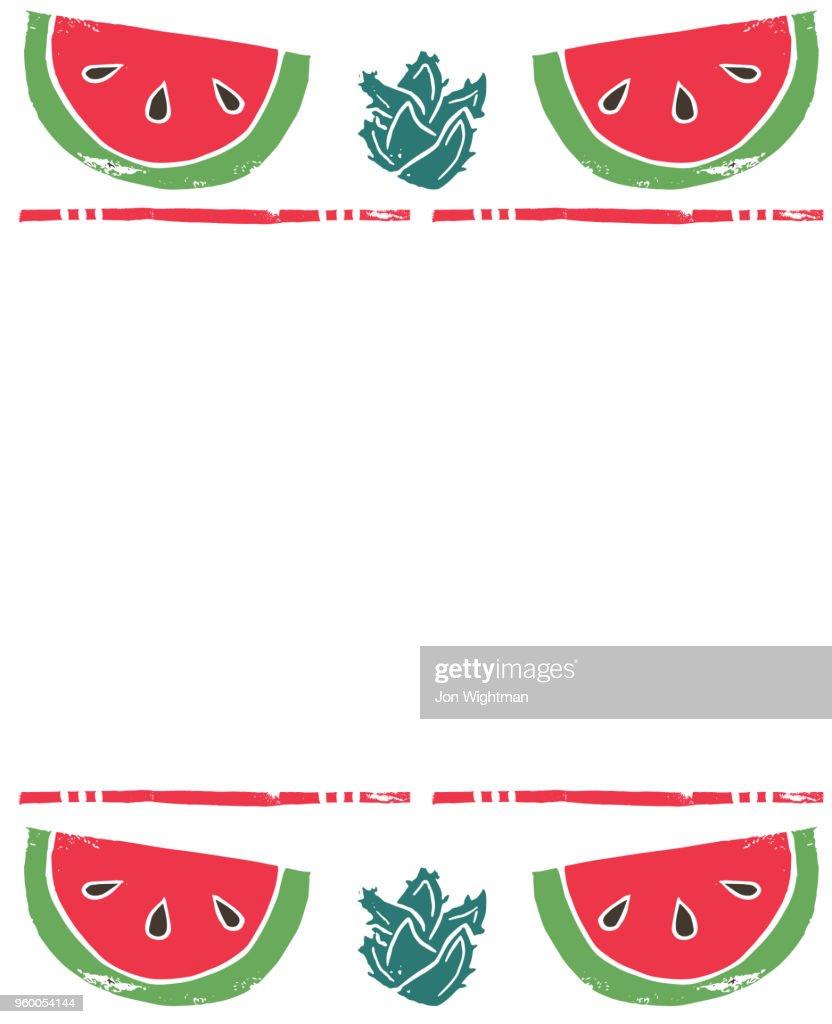 Linolschnitt Obst Hintergrund : Stock-Illustration