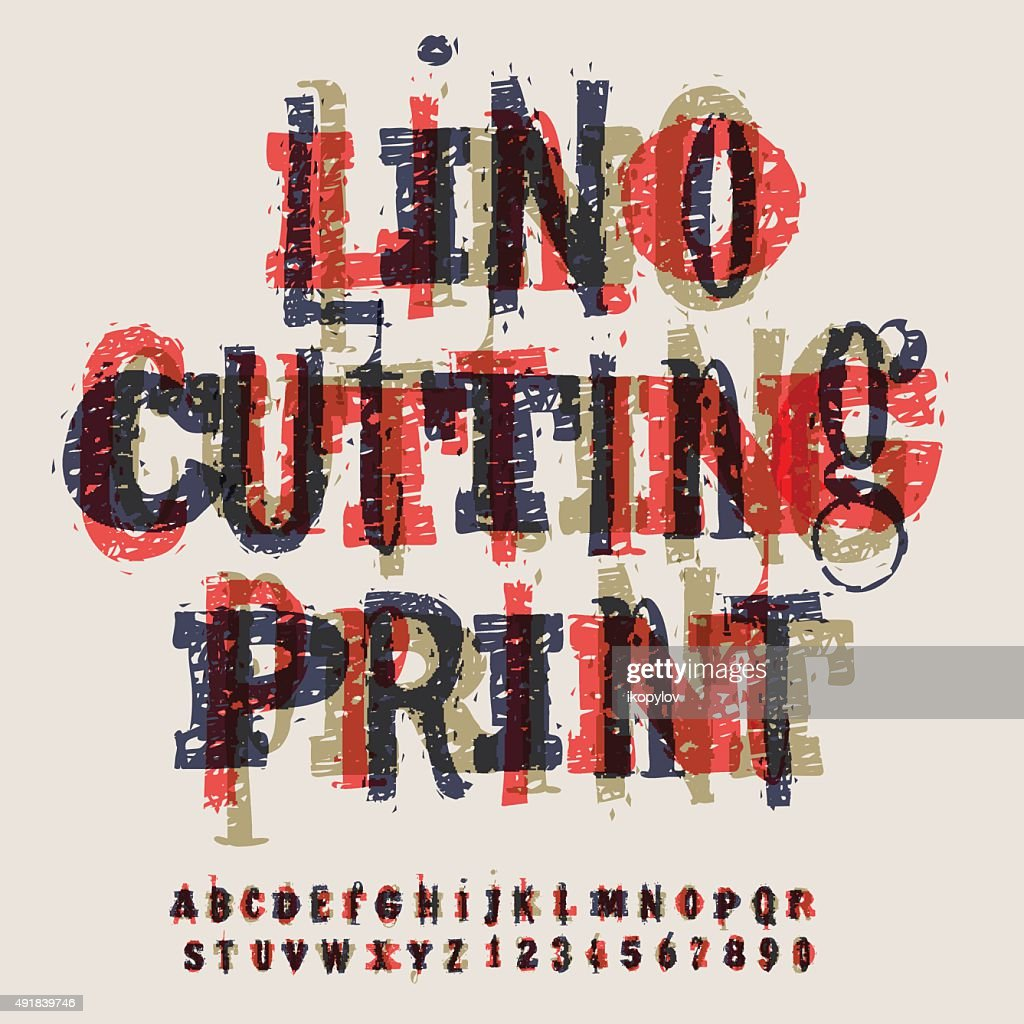 Linocut letters and numbers, alphabet for creating vintage design