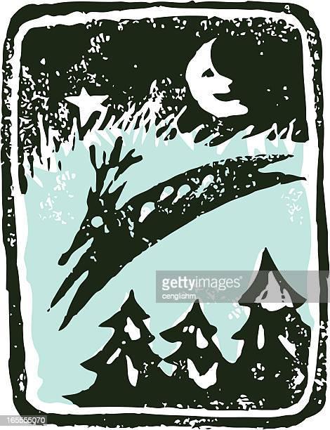 linocut reindeer - man in the moon stock illustrations, clip art, cartoons, & icons