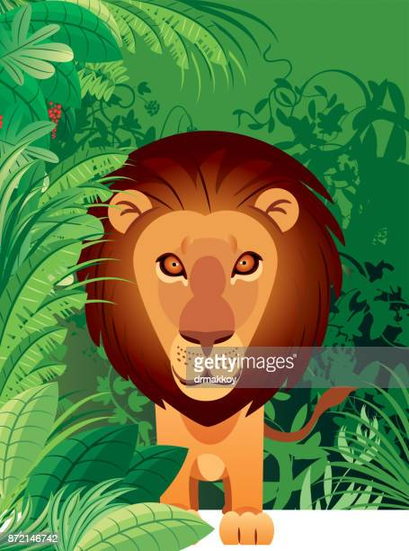 lion and forest - savannah stock illustrations, clip art, cartoons, & icons