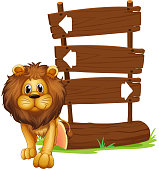 lion beside the wooden arrowboards