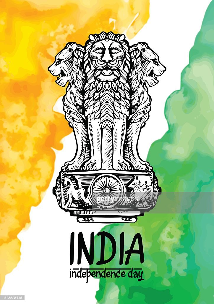Lion capital of Ashoka in Indian flag color on watercolor.