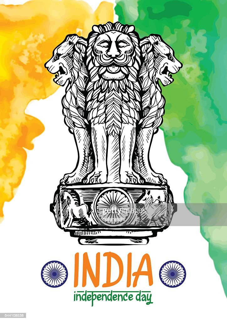 Lion capital of Ashoka in Indian flag color.