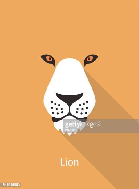 illustrations, cliparts, dessins animés et icônes de lion de dessin animé visage, vecteur d'icône visage plat animaux - lion