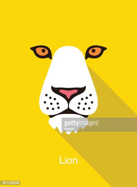 lion cartoon face, flat animal face icon vector - lion stock illustrations
