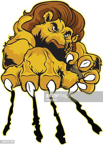 lion clawing - claw stock illustrations, clip art, cartoons, & icons