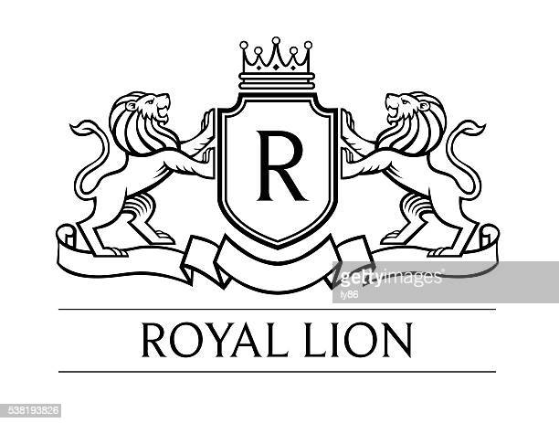 lion-wappen - löwe stock-grafiken, -clipart, -cartoons und -symbole