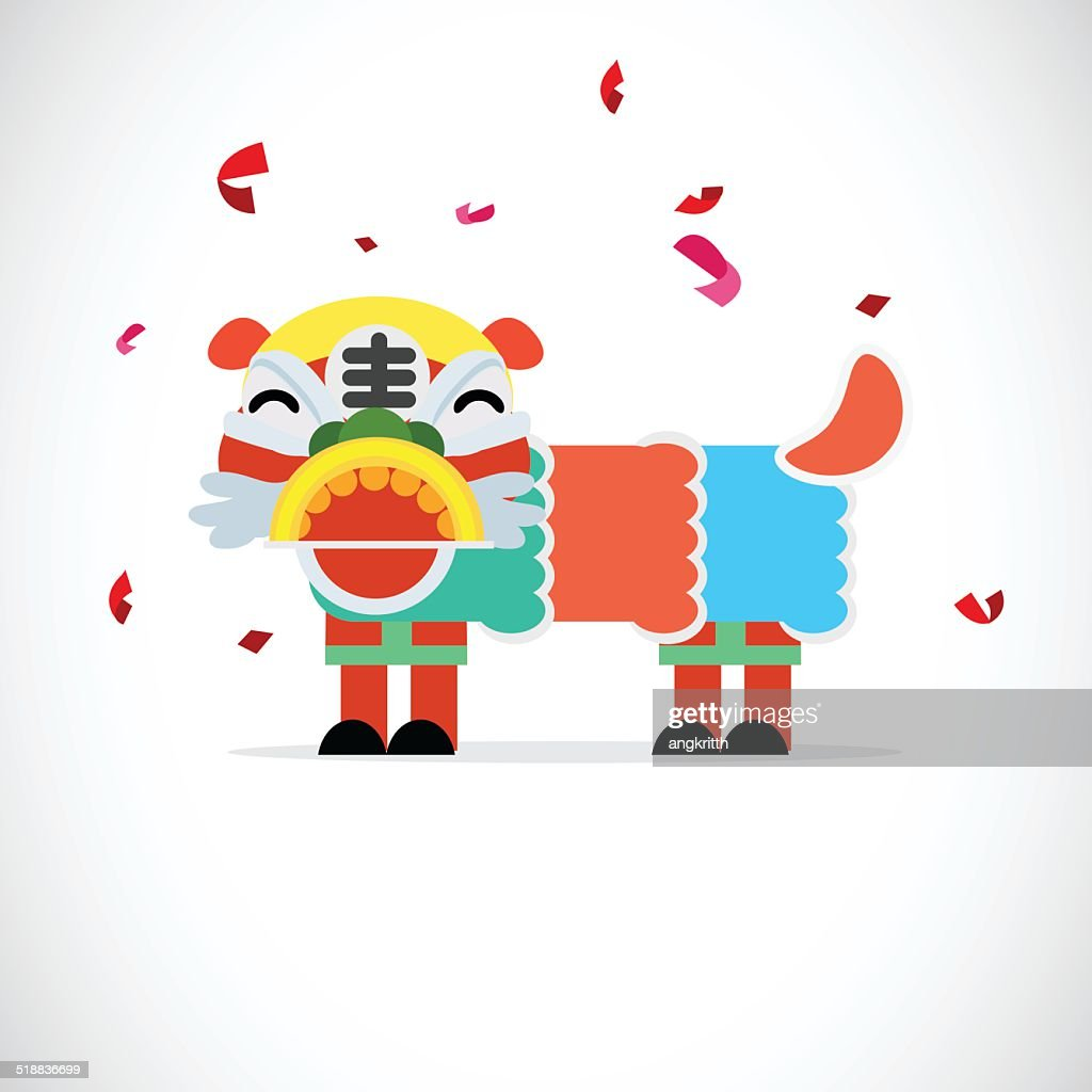 lion dancing - vector illustration