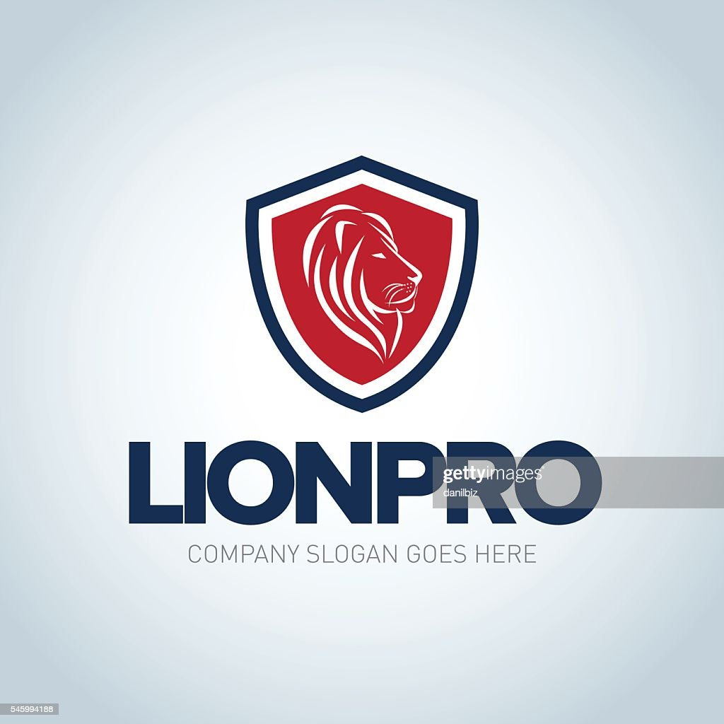 Lion emblem template. Side view Lion head shield emblem