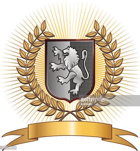 ライオンのシンボル、月桂冠 - 記念の盾点のイラスト素材/クリップアート素材/マンガ素材/アイコン素材