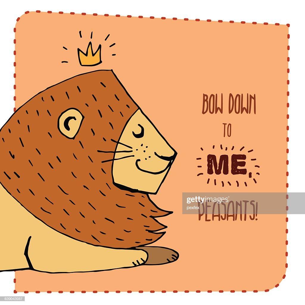 Lion hand drawn illustration. Vector illustration.