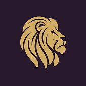 Lion head icon in one color.