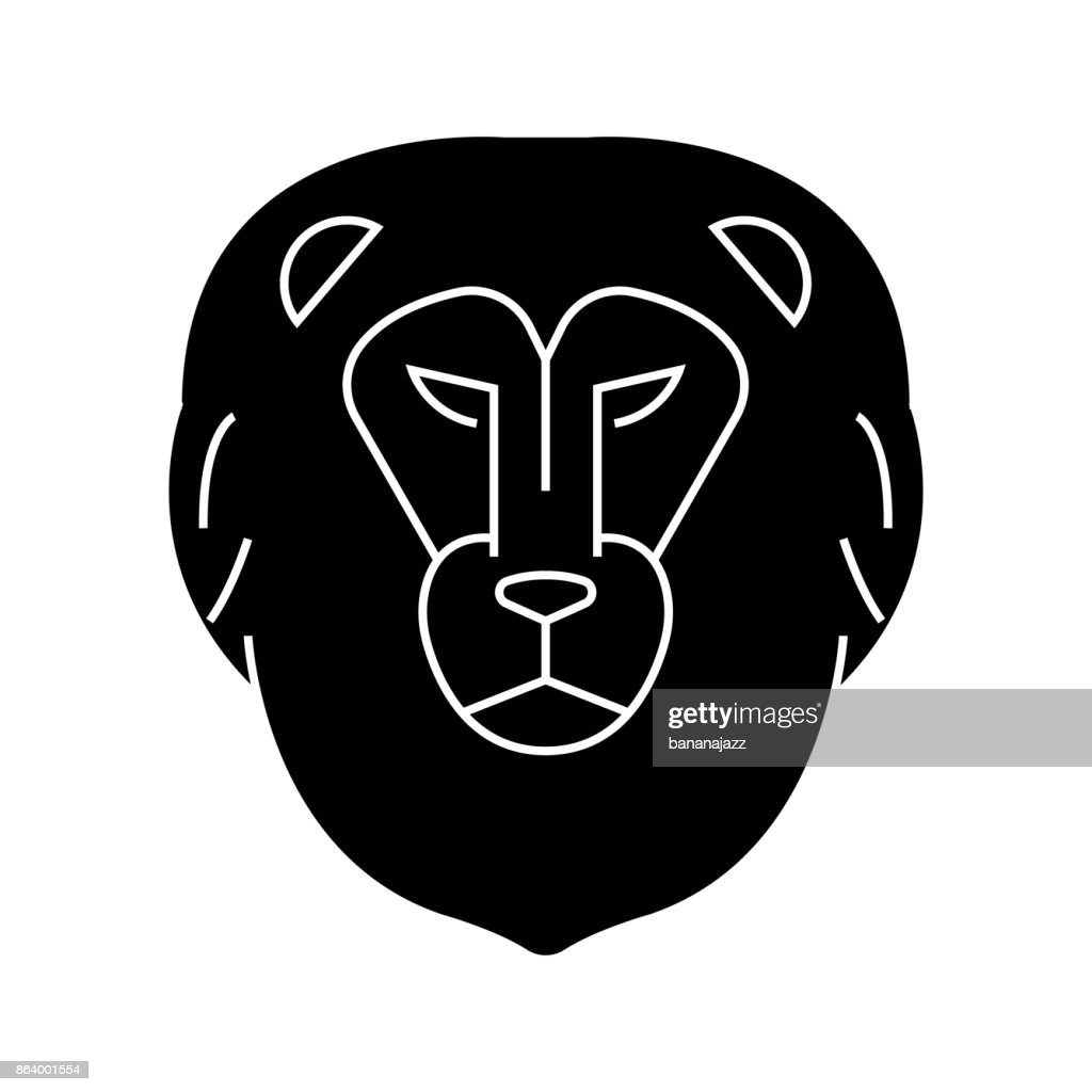 lion head  icon, vector illustration, sign on isolated background