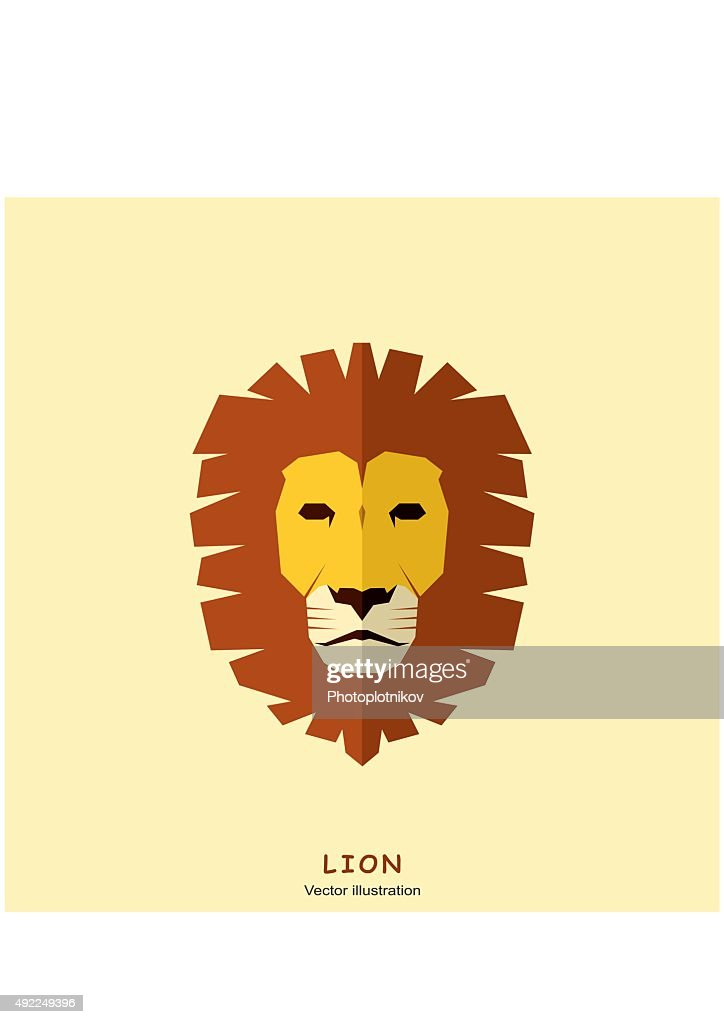 Lion Head in flat style. Vector Illustration