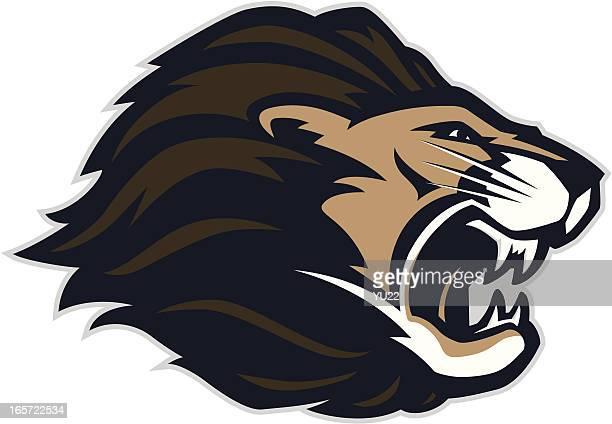 ilustrações, clipart, desenhos animados e ícones de cabeça de leão mascote - animal mane