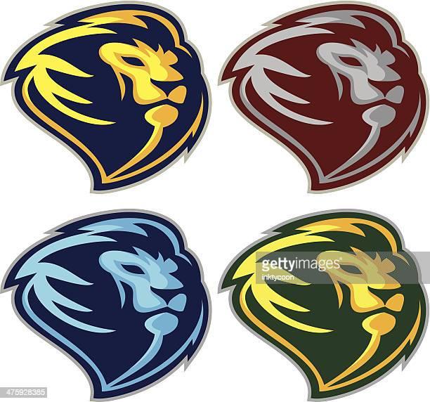 lion head profile - animal mane stock illustrations, clip art, cartoons, & icons