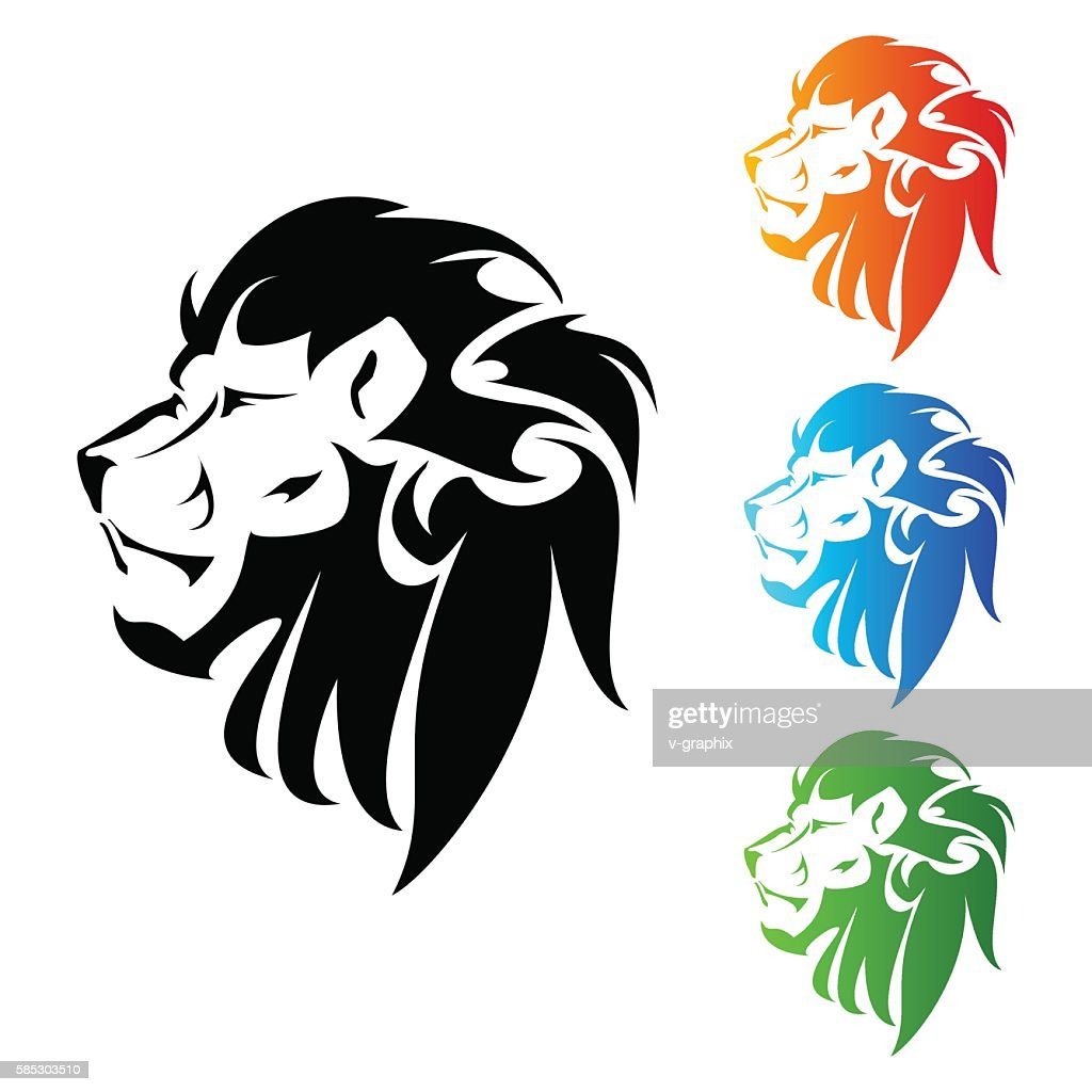 Lion Head tattoo Vector Illustration