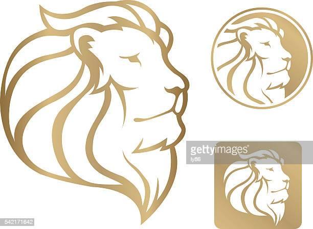 lion head - lion feline stock illustrations