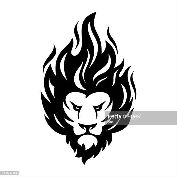 lion head - courage stock illustrations, clip art, cartoons, & icons