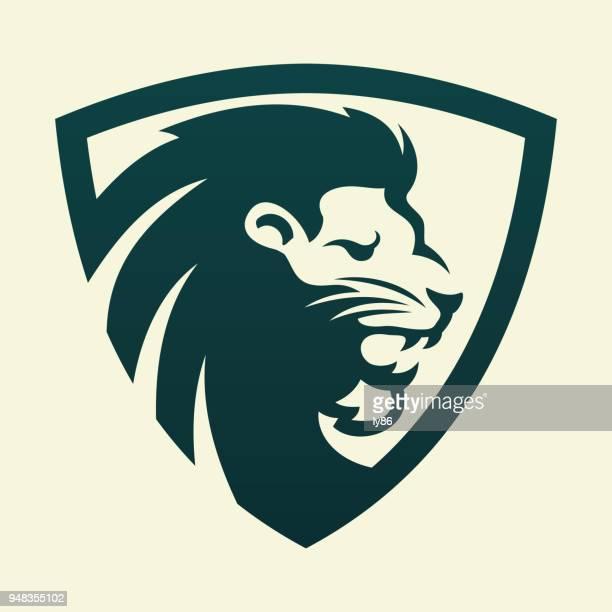 lion head  - löwe stock-grafiken, -clipart, -cartoons und -symbole
