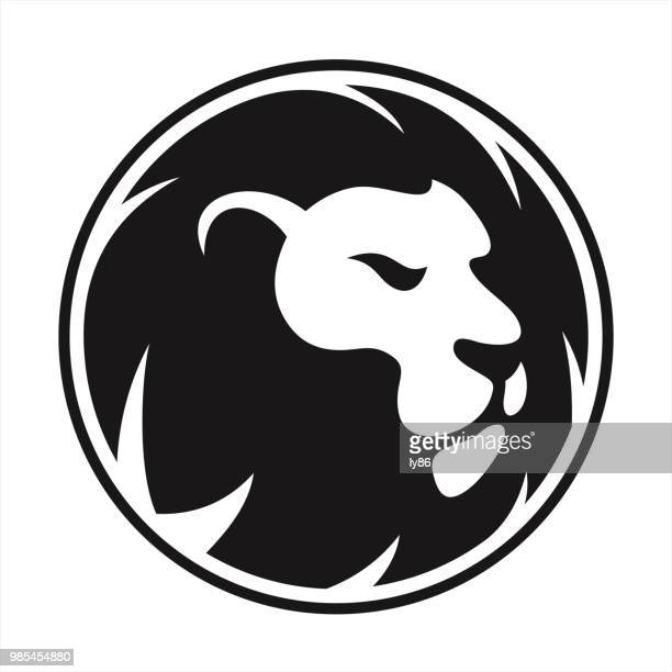 lion head - courage stock illustrations