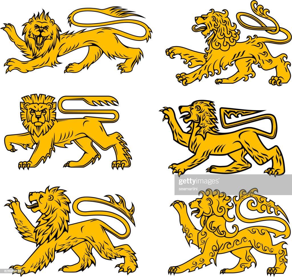 Icone Heraldique Lion Pour Tatouage Dessin Heraldique Clipart