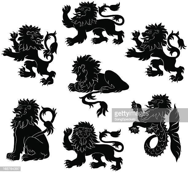 lion heraldry silhouettes - animal mane stock illustrations, clip art, cartoons, & icons