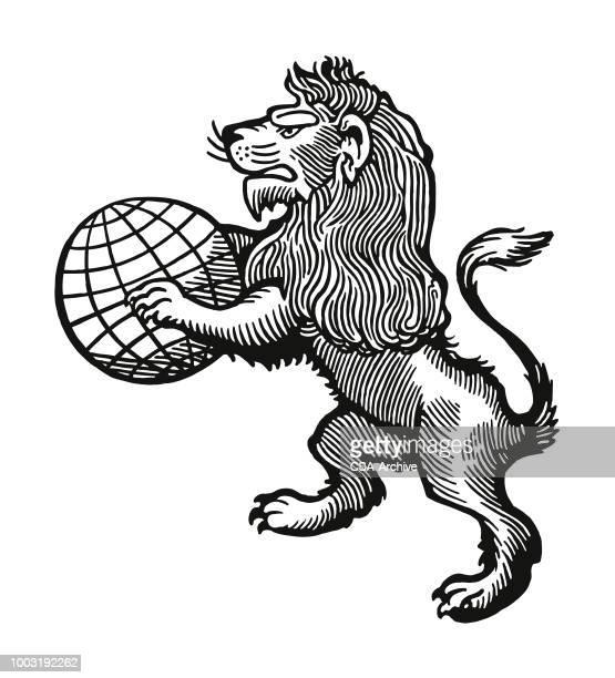 lion holding a globe - animal mane stock illustrations