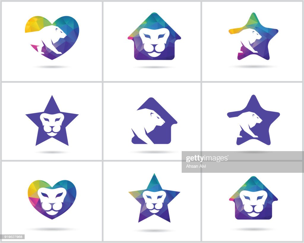 Lion icon design set, Colorful Wildlife animal vector icons, low poly lion in heart, home and star vector illustration.