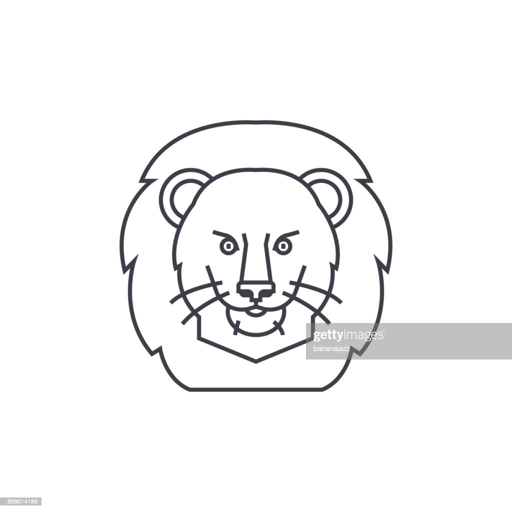 lion illustration head vector line icon, sign, illustration on background, editable strokes
