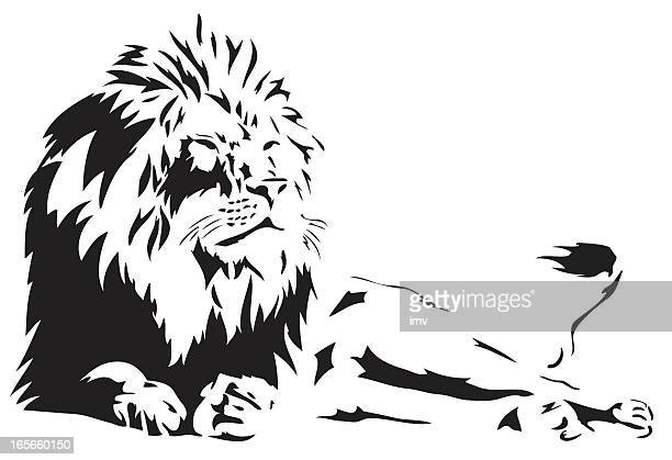 lion illustration in black lines - animal mane stock illustrations, clip art, cartoons, & icons