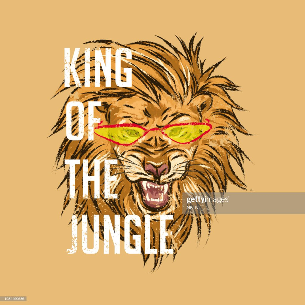 Lion in glasses with slogan.King of the jungle. For print, baby clothes, t shirt, child or wrapping paper. Kids apparel
