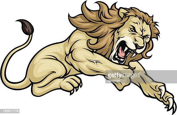 lion jump - animal mane stock illustrations