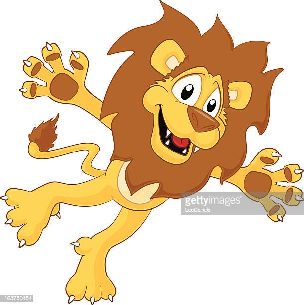 lion - jumping! - animal mane stock illustrations, clip art, cartoons, & icons