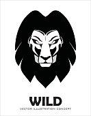 Lion. lion head.