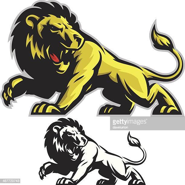 Lion Mascot Fight Stance
