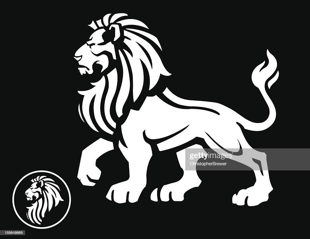 Lion Mascot Profile on Black