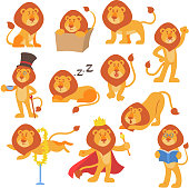 Lion mascot vector pose happy cartoon cute wild character safari mammal cat jungle animal illustration