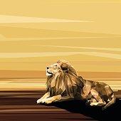 Lion on sun low poly design.