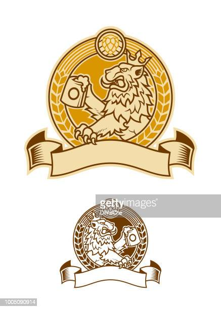 lion symbol in crown beer emblem - beer alcohol stock illustrations, clip art, cartoons, & icons