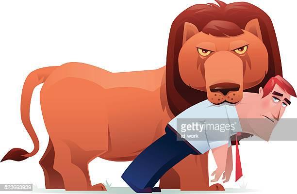 lion with businessman