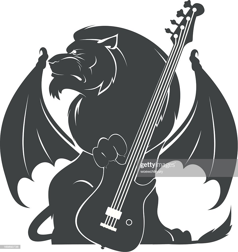 Lion with guitar : stock illustration