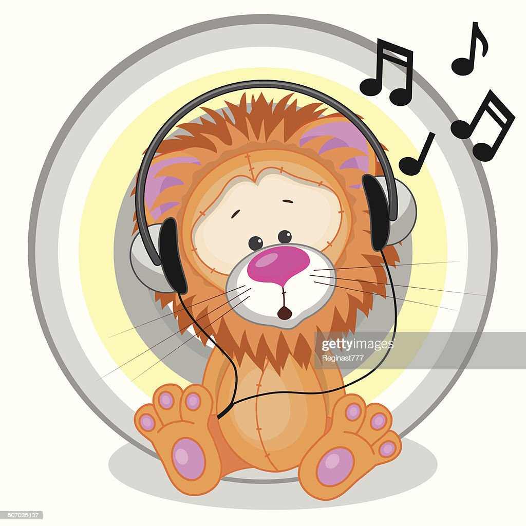 Lion with headphones