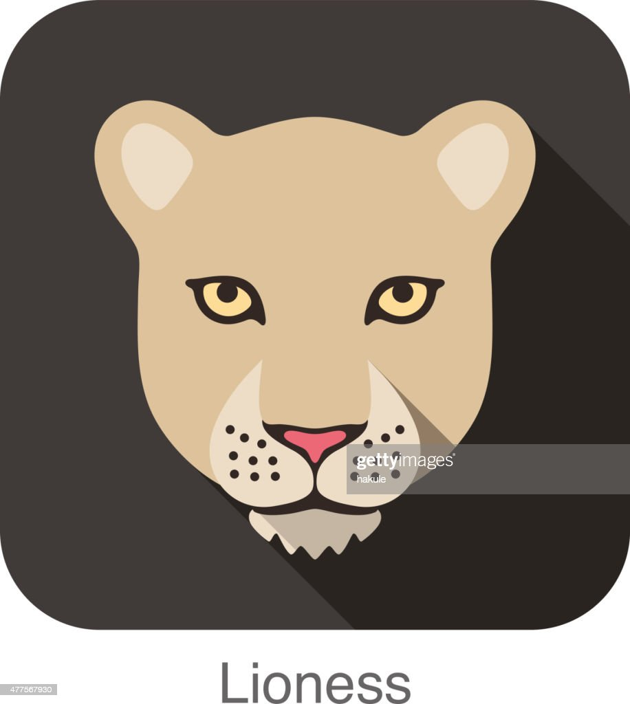 Lioness Cat Breed Face Cartoon Flat Icon Design Vector Art