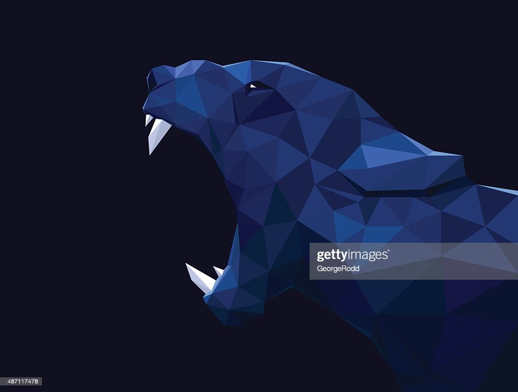 Lioness, lion low poly design. Panther, cheetah polygon vector