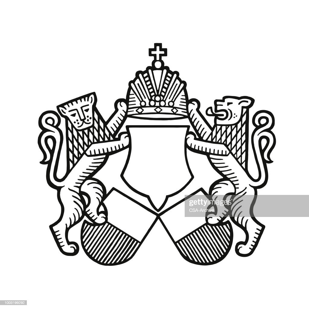 Lions and a Crest : stock illustration