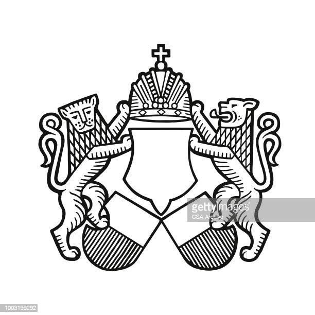 lions and a crest - royalty stock illustrations