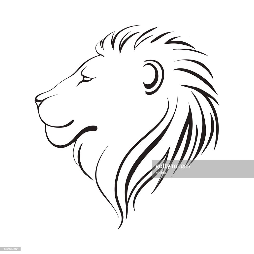 Lions head, profile. Black outline.