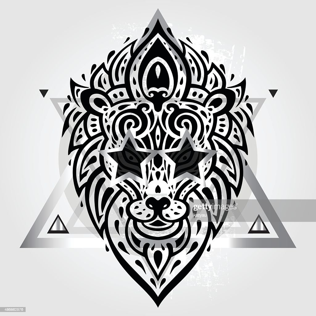 Lions head. Tribal pattern