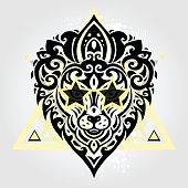 Lions head. Tribal pattern